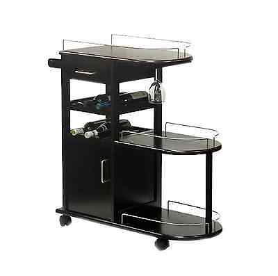 Rolling Brown Wood Entertainment Serving Bar Cart with Glass Storage, Wine Rack