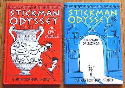 Lot 2 STICKMAN ODYSSEY Book 1 & 2 Christopher Ford HB comic VGC L1