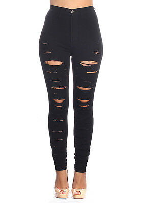 Wholesale Black High Waisted Distressed Jeans - Pack of 7