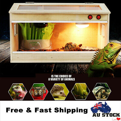 Wooden Reptiles Terrariums Enclosure Heating Cage With 2 E27 LAMP Screw Fitting