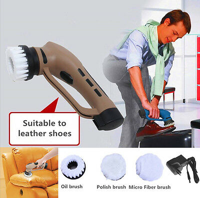 Rechargeable Electric Automatic Shoe Brush Polisher Kit Sofa Leather Care AU
