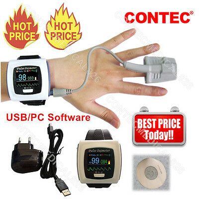 CMS50F OLED Pulse Oximeter Blood Oxygen Spo2 Monitor Oxymetry USB 24H Recording