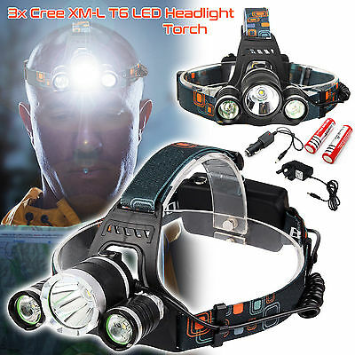 6000LM T6 3x XM-L LED Headlamp Head Torch Rechargeable Outdoor Headlight
