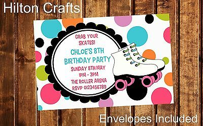 Roller Skate Party Invites Personalised Birthday Invitations x12 with envelopes