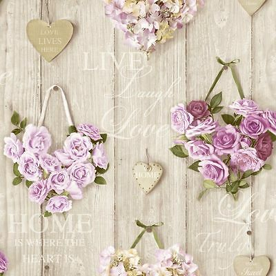 Vintage Shabby Chic Heart Floral Wallpaper Lilac A14502 Free Delivery