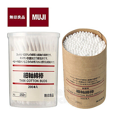 [MUJI MoMA] Thin White Cotton Swab Ear Buds 200pcs (New or Refill) Made in Japan