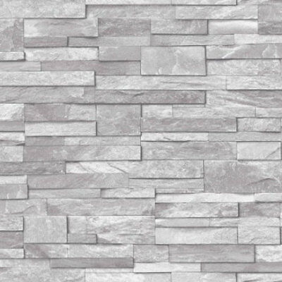 3D Realistic Brick Slate Washable Wallpaper Black/Grey Stone A1720 Free Delivery