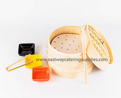"10"" Superior Bamboo Steamer 2 Tier 1 Lid + FREE DimSum Paper, Tong & Chopstick"