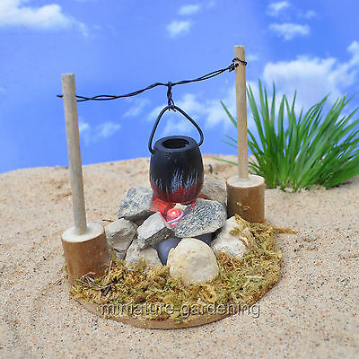 Miniature Fairy Garden Light Up Fire Pit with Cooking Pot