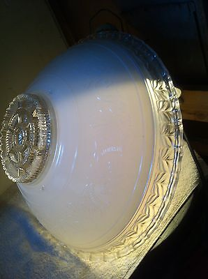 """LARGE vtg 16"""" ART DECO HEAVY GLASS EMBOSSED FROSTED/CLEAR CEILING LIGHT SHADE"""