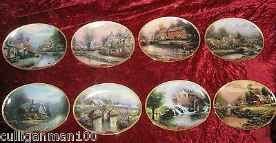 "1 - Lot of 8 Thomas Kinkade's "" Lamplight Villages plates"" (2016-191)"