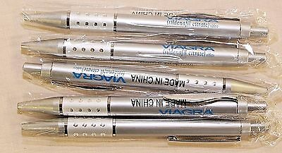 5 New Drug Rep Pens   VIAGRA  Metal  Silver with Blue New in Sleeve