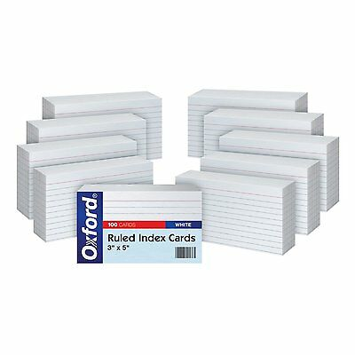 """Oxford Ruled Index Cards, 3"""" x 5"""", White, 10 Packs of 100 (31EE) Index Cards NEW"""