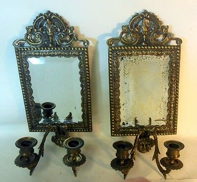 Antique Vtg Pair of Mirror Sconces Candleholders Bacchus Dionysus Grape WINE