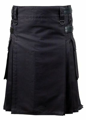 Men's New Black Deluxe Utility Modern Kilt With Leather Straps