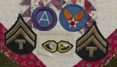 Lot of Vintage Military Patches and Military Dress Clasps....
