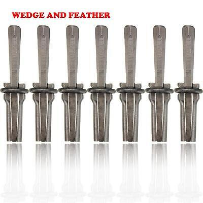 7Set 9/16'' Plug Wedges and Feather Shims Concrete Rock Stone Splitter Tool XT