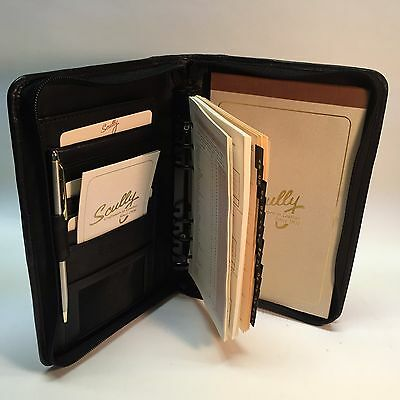 Scully Six Ring Agenda/address Planner And Organizer - Black Leather
