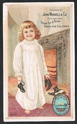 Good Morning~Girl In Nightgown Holds John Mundell  Solar Tip Shoes By Fireplace