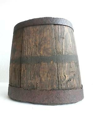 1844 Year Dated & T K Signed Antique Primitive Wood Barrel Canteen Iron Banded