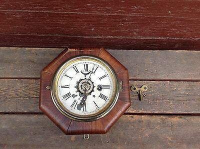 Antique 1855 Forestville Manufacturing Company 30 Hour Marines Clock w/Key