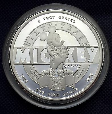 1988 Disney Mickey 60 Years With you 5 oz silver coin Low Mintage (0213 of 2500)