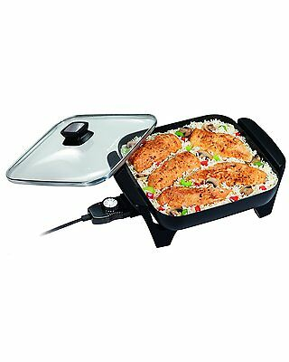 Frying Pan Electric Skillet Non Stick Eggs Bacon Sausage Glass Lid Cooking Pan