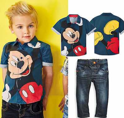 2PCS Fashion Baby Boys Mickey Mouse Shirt Tops + Jeans Set Kids Clothes Outfits