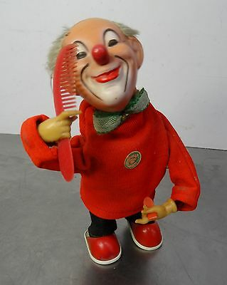 vintage wind up toy - Fa. Max Carl - Kämmende lustige Clown Aufziehfigur