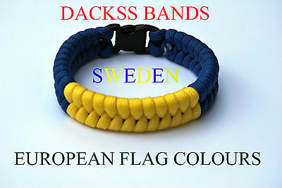 Sweden National Flag  Paracord Wristband Bracelets European Union World Cup