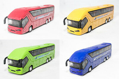 1:50 Die-Cast Coach Metro Travel Bus Red Yellow Green Blue Pull Back Sound Light