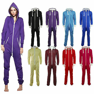 Onesie All One Unisex Jumpsuit Hooded Mens Womens Ladies New Zip Playsuit S-2XL