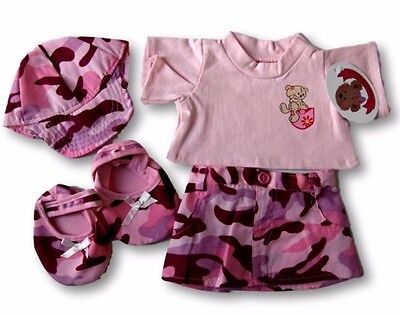 Teddy Bear Clothes fits Build a Bear Teddies Pink Camo Skirt Outfit Shoes & Cap