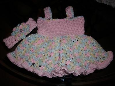 Absolutely Darling Hand crocheted Sundress Baby Girl and headband  0-3 mths
