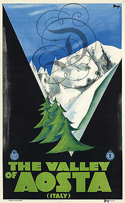 Repro Deco Affiche The Valley Of Aosta Italy Montagne Sur Papier 310 Ou 190 Grs