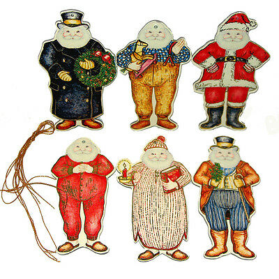 MINT SEALED Shackman Pkg of 6 JOLLY SNOWMAN HANGING CHRISTMAS ORNAMENT S