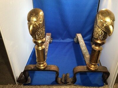 "Antique Brass & Iron American Eagle Head Top Accent Andirons 12"" Tall"