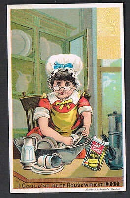 Little Girl Housewife Washes Dishes With IVORINE SOAP-Ivorine Box-Trade Card