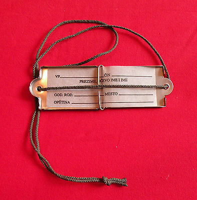 DOG TAG ORIGINAL VINTAGE MILITARY 1960's STAINLESS TIN ID YUGOSLAV ARMY WAR