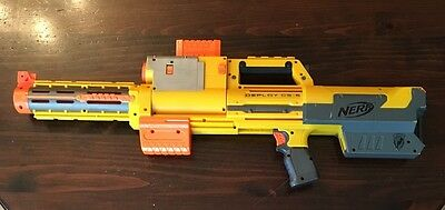 Nerf N-Strike Deploy CS-6 Yellow Tactical red laser w ammo clip barrel extension
