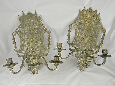Pair Large Antique Brass 3 Light Candle Sconces Louis XVI Victorian Era