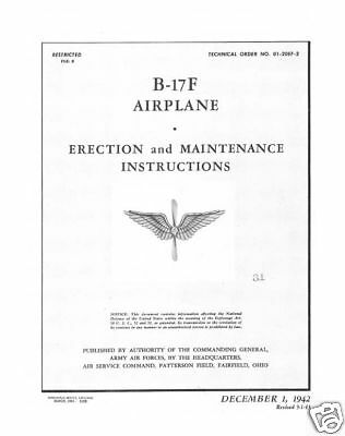 Reprint Wwii B-17F Erection & Maintenance Manual B-17