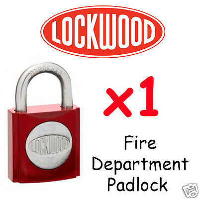 LOCKWOOD Fire Department x1 Lock - Red Fire Brigade Padlock -   !!!!