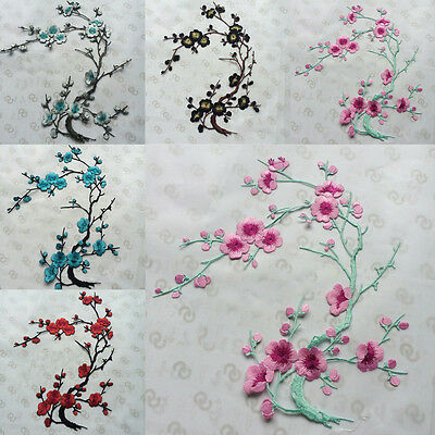 1X Plum Blossom Flower Applique Embroidery Patch Sticker Iron On Sew Cloth Patch