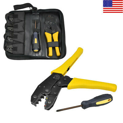 Quick Change Ratcheting Terminal Crimping Kit with 5 Die Sets, Free Shipping