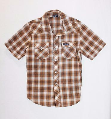 Vintage Boys'TRAKWEST Brown Check Short Sleeve Western Shirt - Size 10