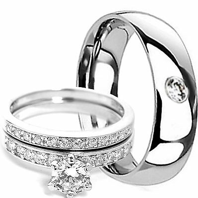3 PIECE Mens TITANIUM Band & Womens STERLING SILVER Engagement Wedding Ring Set