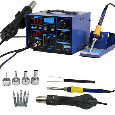 862D+ 2in1 SMD Solder Soldering Iron Hot Air Rework Station Desoldering 110V US