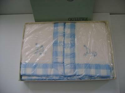 Vtg Quiltex White Acrylic Thermal Baby Blanket Embroidered Gingham Check Edge