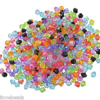 LOVE 1000x Mixed Bicone Acrylic Tiny Spacers Beads 6x6mm
